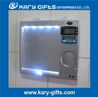 Anti Fog LED Light up Shower Shave Mirror with radio and clock SM-8001