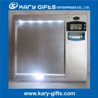 Fogless Anti Steam Bathroom Shave Mirrors with Clock and LED Lights SM-8001G