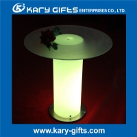 high round Multi color remote control led table with glass KFT-6073
