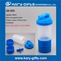 600ml BPA Free custom protein shaker bottle with pill container SB-680