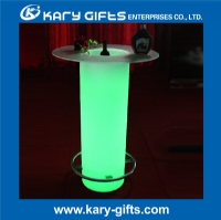 stainless steel RGB color light up bar table with glass KFT-80116